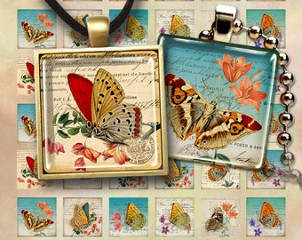 Digital Collage Sheets SHABBY BUTTERFLIES  1x1 inch and 7/8x7/8 inch size Printable square images for pendants, magnets, bezel settings