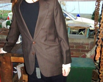 Mens WOOL Coat Brown Sport Coat Jacket 38R Size Medium Vintage Bert Pulitzer Blazer