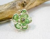 Green and Silver Adjustable Ring | Cocktail Ring |  Silver Ring for Women | Green Flower