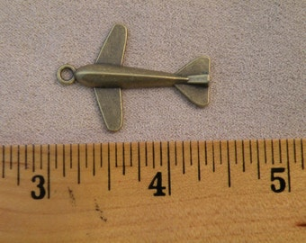 Airplane Pendant Vintage Style Antiqued Brass Finish