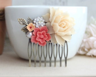 Bridal Hair Comb. Ivory Rose, Coral Sakura, Vintage Inspired Rhinestone, White Pearl, Brass Leaf. Coral Ivory Wedding. Bridesmaids Jewelry.
