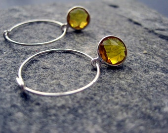 Citrine Earrings - Sterling Silver Citrine Hoop Earrings - Gemstone Earrings - Minimal Earrings
