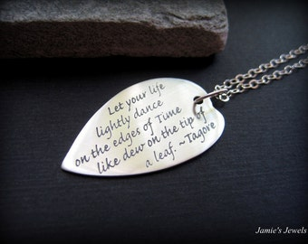 Sterling Silver Leaf Necklace -  Sterling Silver Inspirational Necklace  - Nature Inspired Necklace - Rustic Leaf Jewelry
