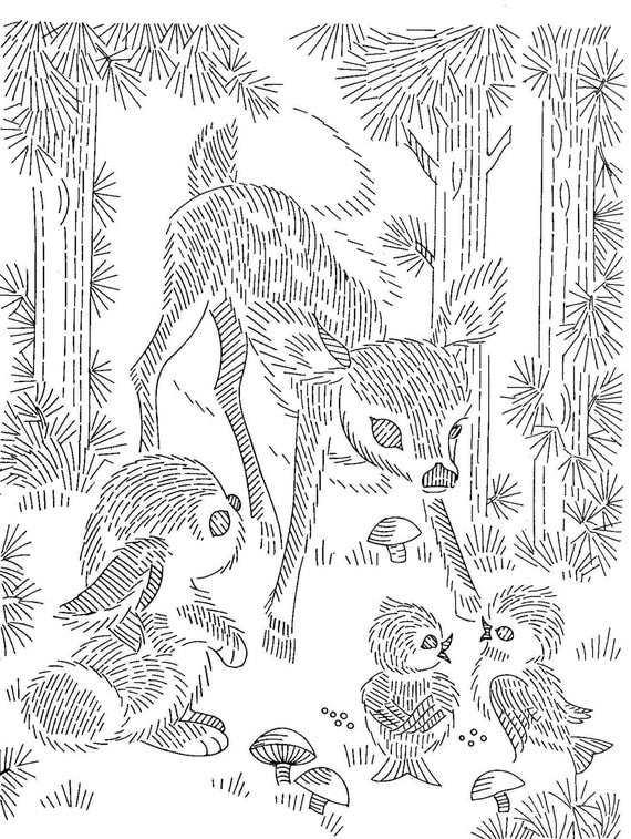 Vintage Hand Embroidery PATTERN PDF File 7027 Deer Bunny