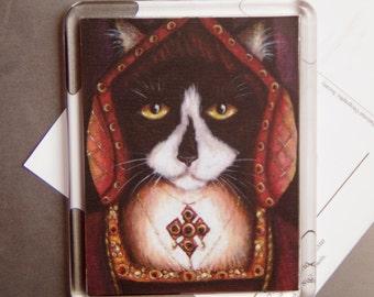 Tudor Cat Magnet, Catherine of Aragon Tuxedo Cat, Fridge Magnet