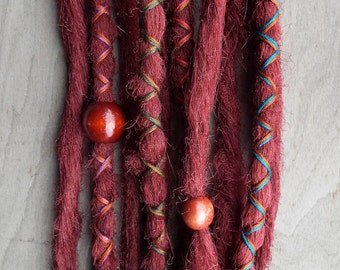 10 Custom Standard *Clip-in Synthetic Dreadlock Extensions Boho Dreads Hair Wraps & Beads (Burgundy)