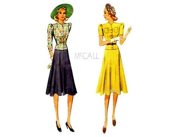 1930s Dress Pattern, McCall 3177, Two Piece Womens Dress, Flared Skirt, Front Button Bodice, Bust 34, 30s Day Dress Vintage Sewing Pattern