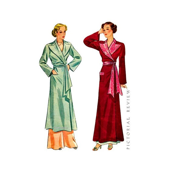 1930s womens robe pattern pictorial review 8475 two lengths sash