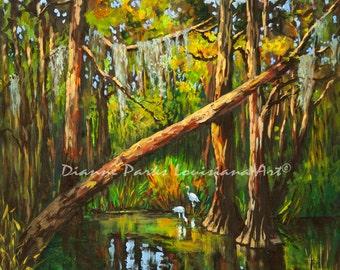 Tranquility in the Louisiana Swamp, FREE SHIPPING! Egrets, Heron, Swamp Birds and Wildlife, Louisiana Bayou and Swamp Cypress Trees