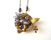 Flower Necklace, Boho Necklace, Crystal Necklace, Leaf Necklace, Purple, Lavender, Flower, Assemblage, Collage, Floral
