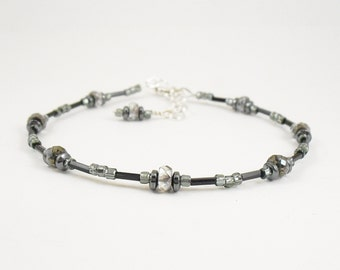 Black Crystal Czech Glass, Hematite and Grey Glass Anklet, Ankle Bracelet