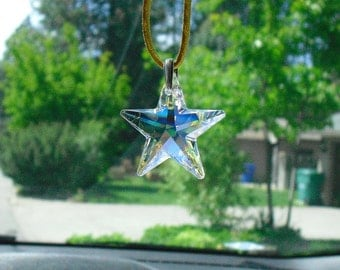 Bold 40mm Swarovski Crystal Star Rear View Mirror Charm, Decor, Sun Catcher, Crystal Accessory
