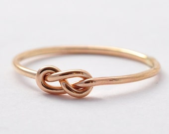 Gold Infinity Ring: Yellow Gold Filled Love Knot, Unique Gifts
