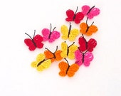 Crochet Butterfly Appliques, Embellishments Set of 12 Pink Orange Red Yellow