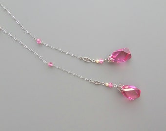 Art Deco Necklace. Pink Crystal Negligee. Lariat. Peanut Chain.