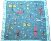 Linen Handkerchief Blue Dragonflies by Faith Austin