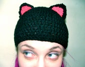 Black Cat Ear Hat, Beanie, Crochet