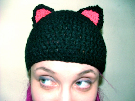 Items similar to Cat Ear Hat, Beanie, Crochet on Etsy