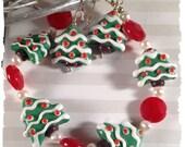 Christmas Cookies SET Xmas Trees Earrings and Bracelet--Lampwork, Red Jade and Pearls