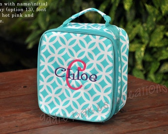 Personalized Turquoise Geometric Print Lunch Bag