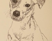 Jack Russell Terrier Smooth dog art portrait drawing from words. Dog's name added into art FREE. Great gift Signed Kline 11X17 Lithograph 46