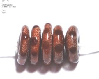 DISCS 20 Lampwork Bead Set Handmade Brown Sienna Color Mix in Organic Design - 5 Beads