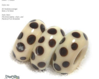 NUBBIES  81 Lampwork Bead Handmade BIG HOLE Ivory Black Polka Dot  Beads  -- fits 5mm leather and  Euro-Style