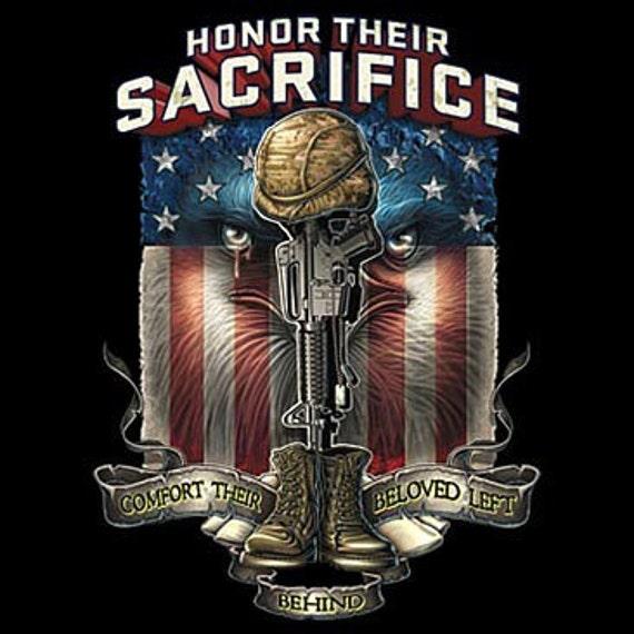 Honor Their Sacrifice Eagle American Flag T Shirt Pow Mia Kia