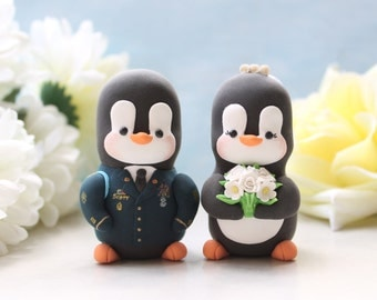 Wedding cake toppers Military Penguins - love birds US Army dress blue jacket uniform gold wedding gift bride groom figurines personalized