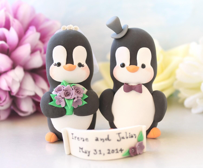 Custom wedding cake toppers Penguins LARGERsize names cute