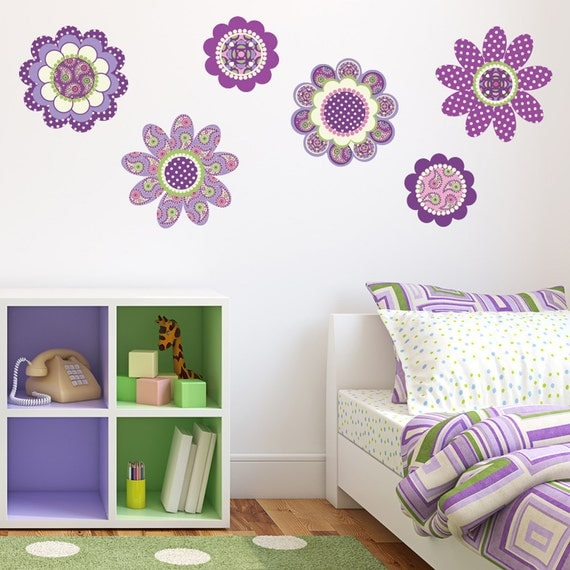 Purple Romantic Big Flower Wall Stickers Home Decor: Purple Flower Power Wall Decal Stickers Removable By