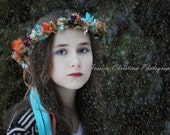 Turquoise Dried Floral Crown colorful hair wreath AmoreBride original Wedding accessory spring Woodland Bridal fairy flower girl halo fall