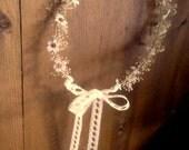 dried Flower crown Country Bride Daisy babys breath headwreath Bridal hair wreath lace Headpiece flower girl halo mini Wedding Accessories