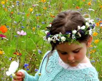 Country Flower Girl Hair wreath bridal party accessories Field of Flowers cottage purple Wildflower halo dried flowers style wedding