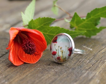 Poppy Ring - Floral fields of poppies Glass Dome flower Ring