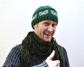 Knit Men Winter Beanie - Chunky Yarn Green / Grey - Handmade Cat Hat