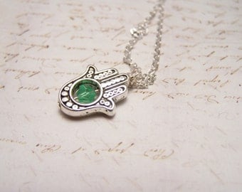 Green  Hamsa Necklace. Silver Finish. Happiness. Luck. Health. Good Fortune