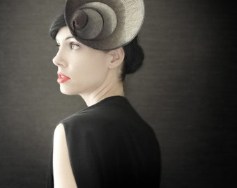 Modern Ombre Black and Grey Industrial Felt Fascinator - Orbital Series - Made to Order
