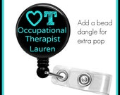 Personalized Occupational Therapy Therapist Badge Holder ID retractable reel