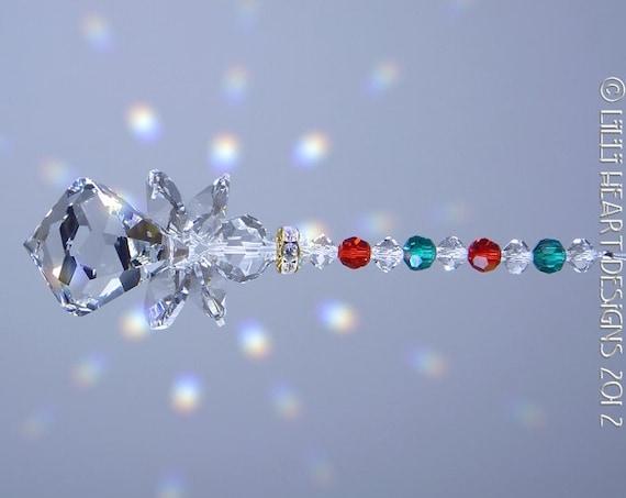 Suncatcher m w swarovski crystal christmas holiday bell curvy for Swarovski decoration crystals