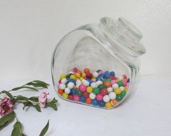 Slant Jar Glass Lid Counter Display Candy Cookie Container