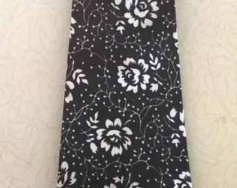 Vintage 1970's Black and White Necktie Flowers Print
