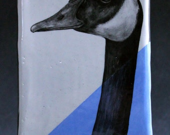 Hand Painted Canadian Goose Portrait Wall Tile Light Blue
