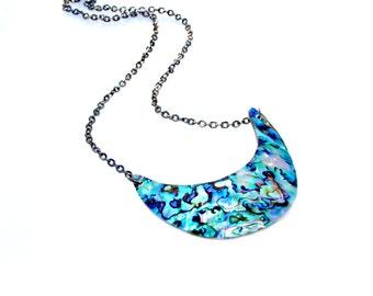 Paua Shell Necklace, Crescent Moon Necklace, Goddess Necklace, Blue Green Necklace, Pendant Necklace, Tribal, Beach Resort Style Mei Faith