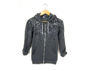"SAMPLE SALE The Original ""Splash Dyed"" Hand PAINTED Fleece Pocket Zip Hoodie Sweatshirt in Charcoal Grey Particle Theory - Women's M Q"