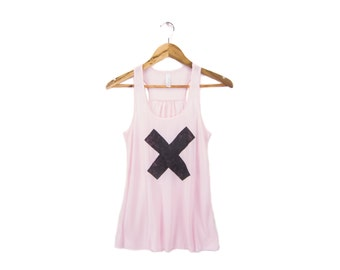 SAMPLE SALE - X Marks the Spot - Hand Stenciled Deep Scoop Neck Racerback Women's Swing Tank Top in Powder Pink - M Q