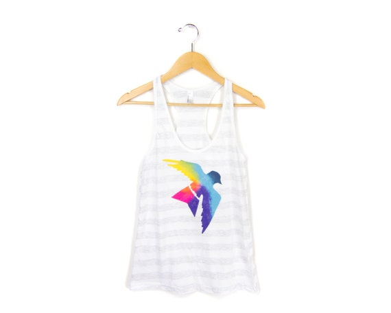 "Sparrow - The Original ""Splash Dyed"" HAND PAINTED Heather Striped Swing Tank Top in Spectrum Rainbow - Women's XS S M L"