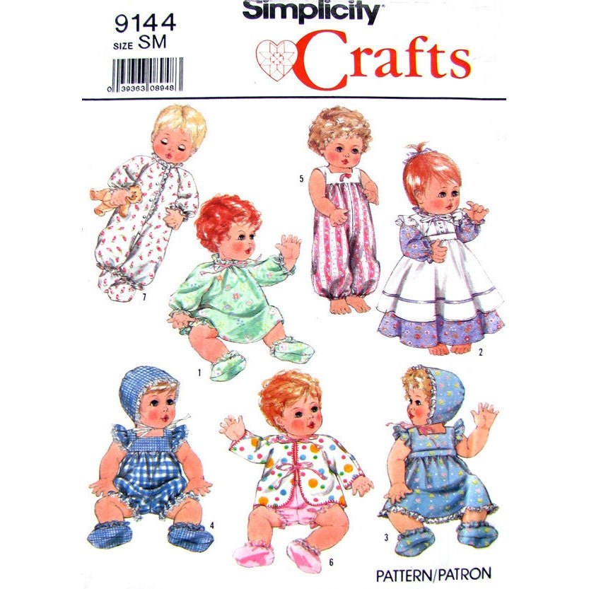vintage baby doll clothes sewing pattern simplicity 9144