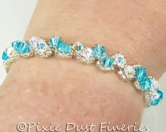 Crystal Bridal Bracelet, Aqua, Clear Swarovski Crystal and Silver Bridal Bracelet, Bridal Tennis Bracelet, Crystal Wedding Bracelet WB0093
