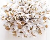 Metallic gold polka dot tissue pom pom .. New Years .. Wedding Decoration